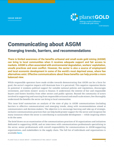 Cover image of communicating ASGM issue brief
