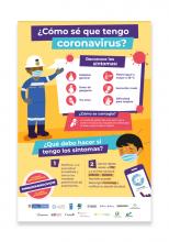 Afiche ¿Cómo sé que tengo coronavirus?: síntomas y dónde reportar