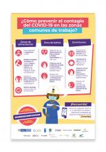Afiche ¿Cómo prevenir el contagio del COVID-19 en las zonas comunes de trabajo?