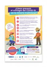 Afiche ¿Cómo prevenir el contagio del COVID-19 en la minería tradicional?