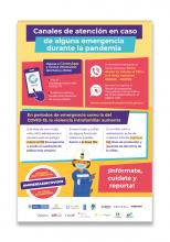 Afiche Canales de atención en caso de alguna emergencia durante la pandemia
