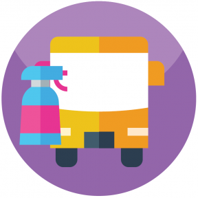 icon of bus and disinfectant