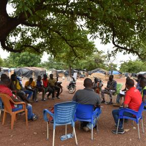 planetGOLD Burkina Faso team members sensitizing miners in Dano on gold production without mercury