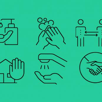 Iconos de lavarse las manos, desinfectar, quedarse en casa, mantener la distancia social