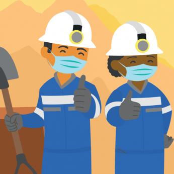 Imagen de mineros animados con máscaras con pulgares arriba