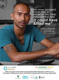 Poster of Guyanese miner with quote