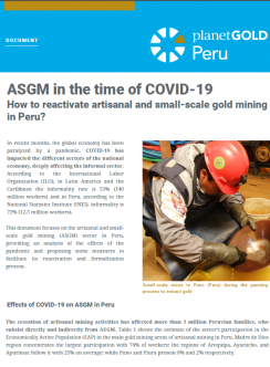Imagen de portada del documento ASGM en tiempo de COVID-19