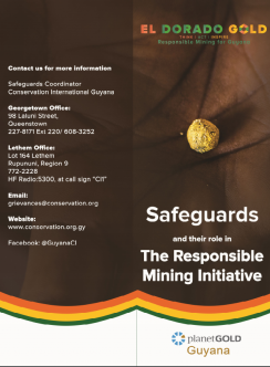 Cubierta de planetGOLD Folleto de salvaguardias de Guyana