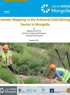 """La imagen muestra la portada del informe """"Mapeo de género en el sector de la minería de oro artesanal en Mongolia"""""""